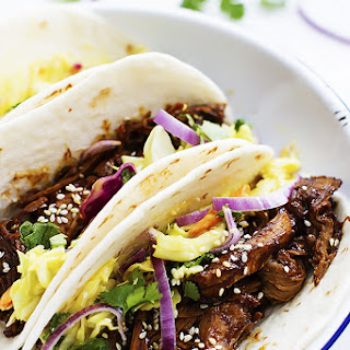 Slow Cooker Korean BBQ Pork Tacos.