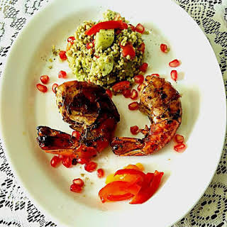 Grilled Prawns with Tabouleh Salad.