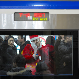 Subway Santa  by Francisco Little - Public Holidays Christmas ( red, subway, china, christmas, santa )