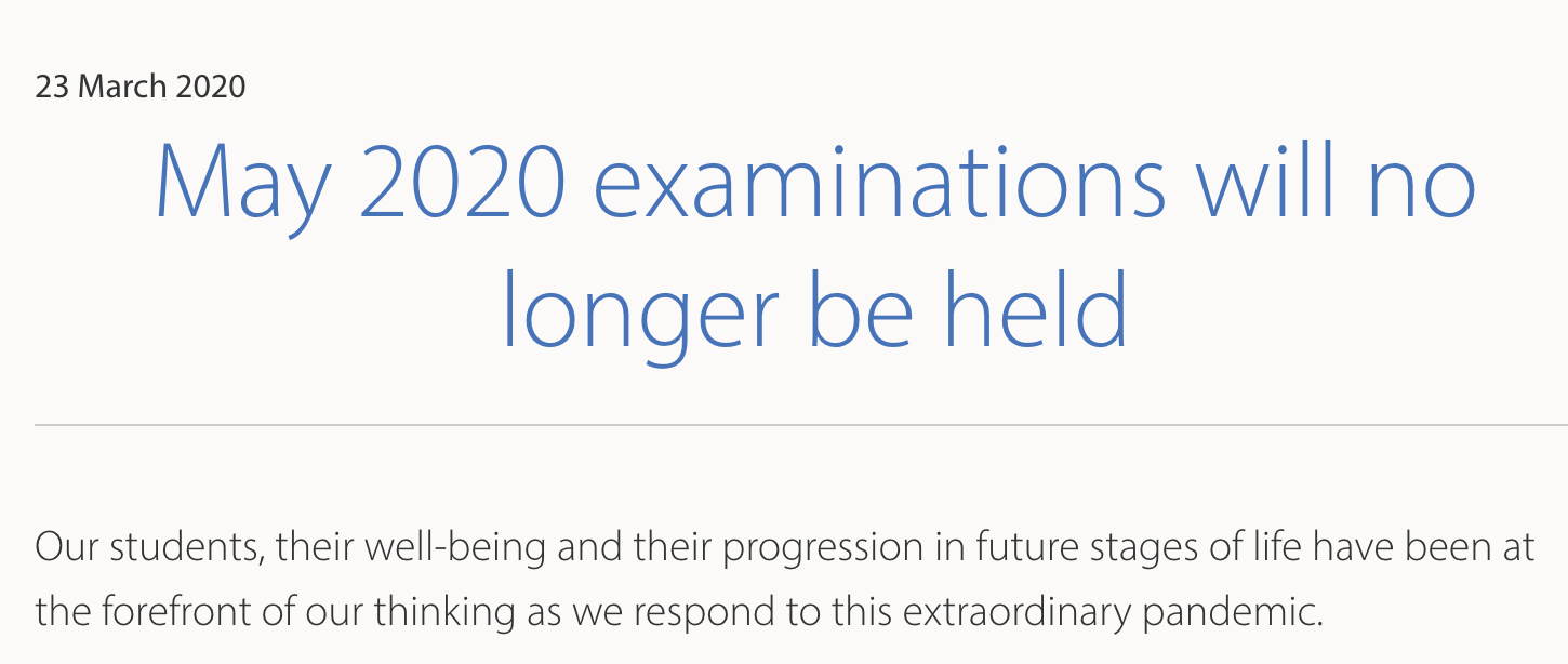 IBO announcement that May 2020 exams will no longer be held due to the pandemic