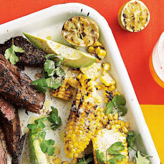 Colin Fassnidge's barbecued kangaroo with charred corn and avocado.