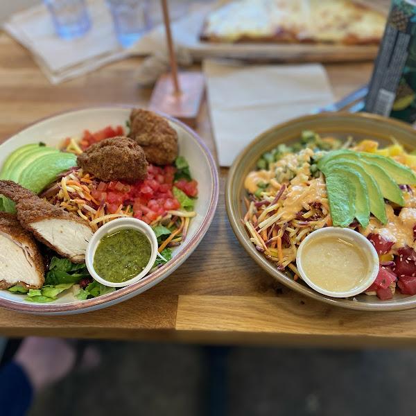 Plantain chicken salad and ahi tuna bowl with quinoa