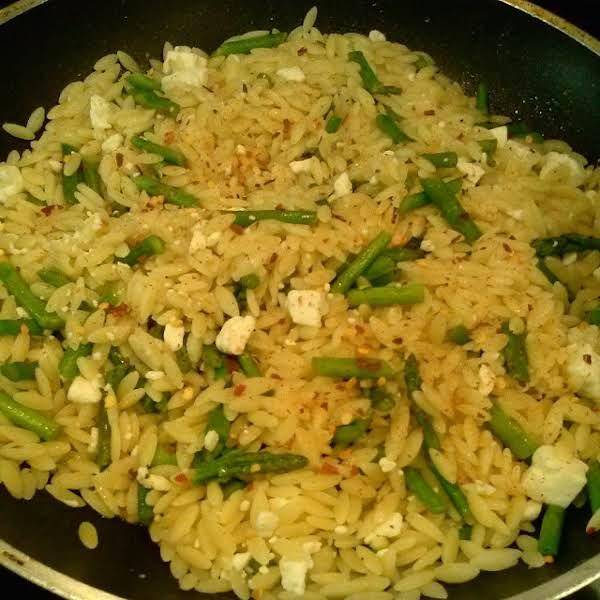 From Instagram: Orzo With Buttered Asparagus, Feta Cheese And Red Pepper Flakes. Https://instagram.com/p/03zlfulsmf/