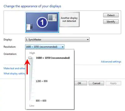 Adjust native resolution setting in Windows 7