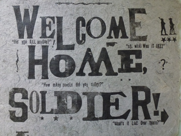 """Photo: WELCOME HOME SOLDIER By Eli Wright.  Print date unknown.   """"Combat Paper was a group of brother- and sister-veterans that were waiting to listen and to tell me their stories and to share them together."""" http://to.pbs.org/IoY52r"""