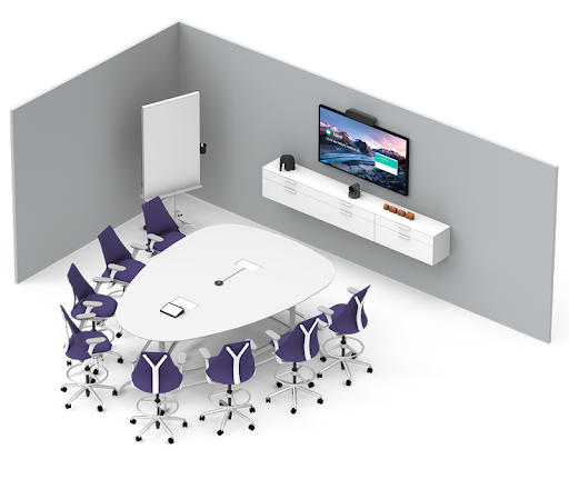 Medium conference room equipped with Logitech medium room bundle