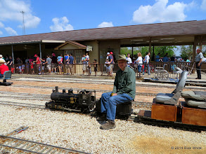Photo: Cody Crawford maintains steam pressure and water level for Clyde Brown's steamer.    HALS Public Run Day 2014-0419 RPW  11:21 AM