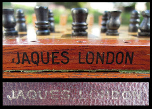 Photo: CH413 Jaques travel set  Jaques branding - black lettering to one side of the board and gold-blocked lettering to the base of the case.