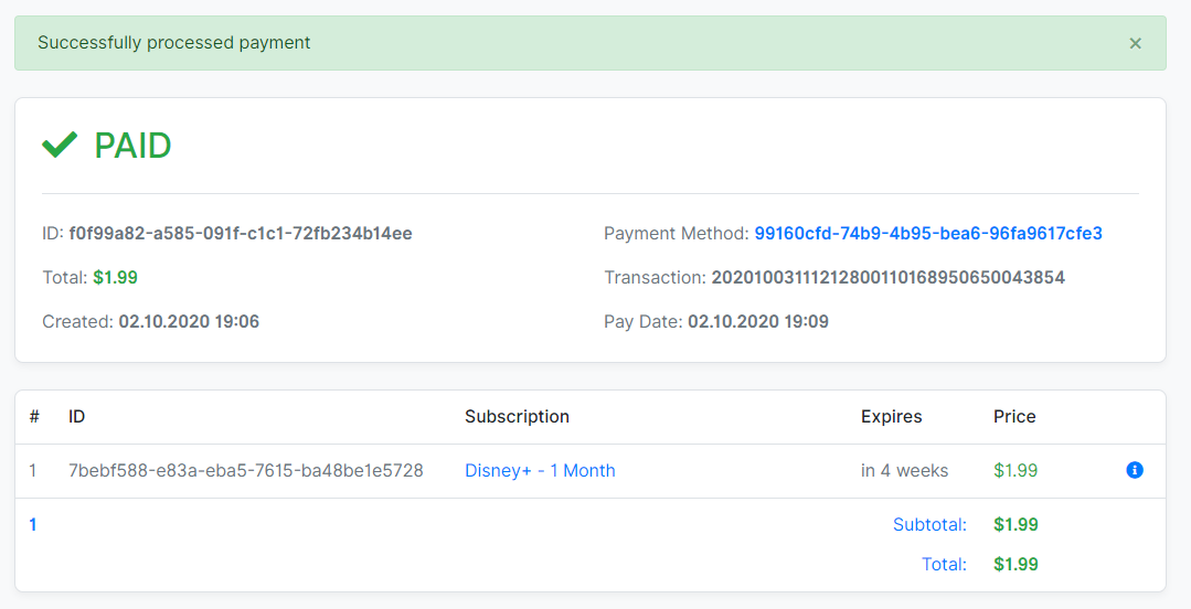 Successful Payment on AccountBot.io