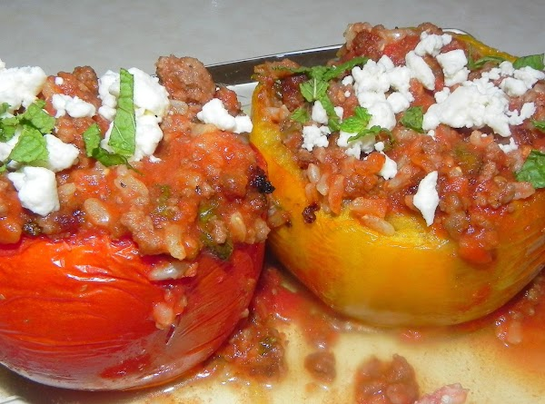 Sept. 9th, 2012 -- Greek Stuffed Tomatoes with a little feta cheese on top
