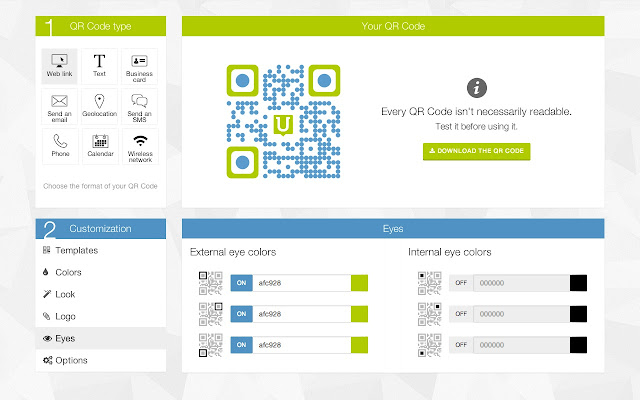 Qr code generator by unitag chrome web store create free customized qr codes with colors shapes and logo url personal business cards vcard text sms and many more reheart
