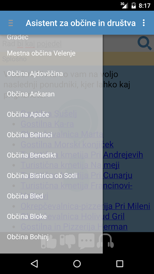 Asistent za občine in društva- screenshot