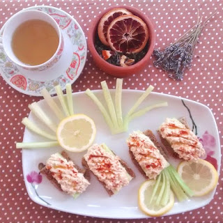 Cucumber Sandwiches With Smoked Paprika Hummus And Lavender-blood Orange Green Tea Blend.