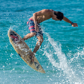 by Keith Sutherland - Sports & Fitness Surfing ( flying, spray, surfing, surfer, board )
