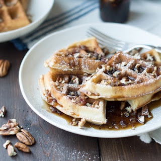 Pecan Waffles with Bacon Infused Maple Syrup.