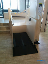 Photo: VPL RENTALS NOW AVAILABLE! Mobility123 is the first and only company in New Jersey to offer Wheelchair Lift rentals on daily, weekly, or monthly basis.  Here's a Portable #VPL rental we installed in a hotel lobby. The top landing platform was designed/built by our in-house Accessible Design Specialists.  The neat thing about this Wheelchair Lift is that it can be moved around very easily. It mounts on a set of lockable caster wheels for simple transportation. (Wheels removed when unit is in use).  Keep in mind, VPL rentals are available with a max lift height of 6ft. (72in). Residential & Commercial models available.  #WheelchairLift  #SafeLiving  #Mobility123  #PortableLift