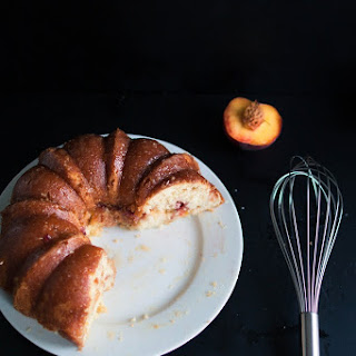 Peach Vanilla Bundt Cake With Peach Soaking Syrup.