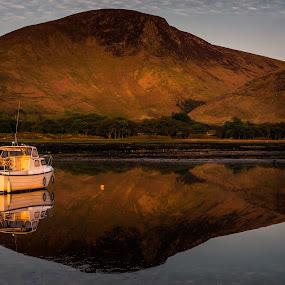 Lochranza by James Johnstone - Landscapes Waterscapes ( lochranza, reflection, arran, seascape, boat,  )