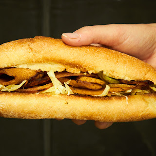 Vegan Philly Cheese Steak Sandwiches with Homemade Seitan.