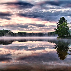 morning mists by Andrzej Pradzynski - Landscapes Waterscapes ( madawaska river, canada, mists, reflections, ontario, morning )