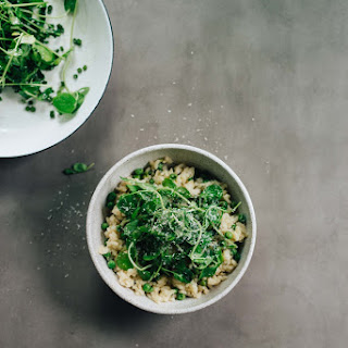 Sweet Pea Oven Risotto W/ Garlicky Pea Shoots.