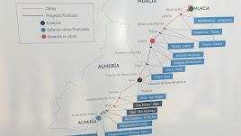 Mapa con los tramos del AVE Murcia-Almería