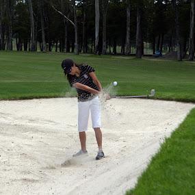 Bunker shot by Cristobal Garciaferro Rubio - Sports & Fitness Golf ( sand, bunker, grass, lady, trees, leaves, shot )