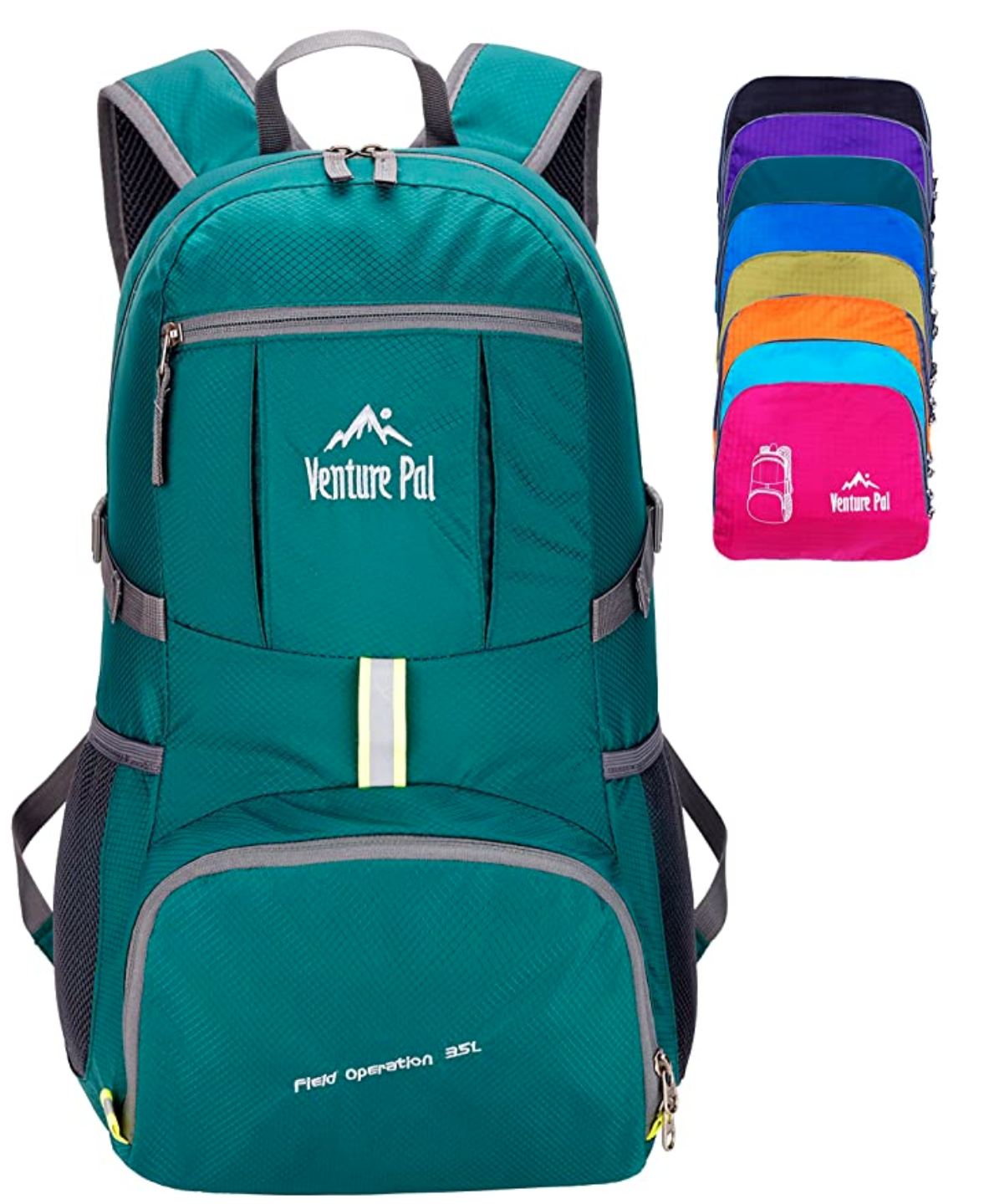 A green backpack and various colour options next to it.