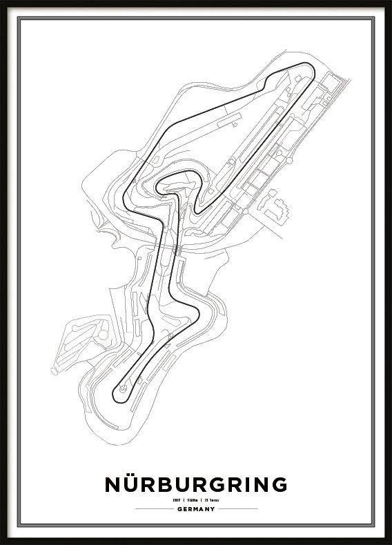 Poster, Nürburgring F1 print white