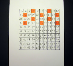 Photo: This is my 4 Times Table I colored it orange.  This is a tricky Pattern to see: the boxes go across and down and diagonally... I think I need to keep coloring all the 4's down to 100. Then I'll let you know what I see... But even with just this Pattern, I can tell you that 44 will be orange!!!! Going down from 4 to 24, you skip over 14. So if you go down from 24, you skip over 34 and go to 44!!!! and then down to 64 and then down to 84, But NOT to 94. So if you go down from 20 to 40, next is 60, then 80, then 100. See my Colored Times Tables are Math Tools I can use to predict numbers and prove numbers. By coloring the Times Tables, I made my own Math Tools! So this makes more fun at school. :-)