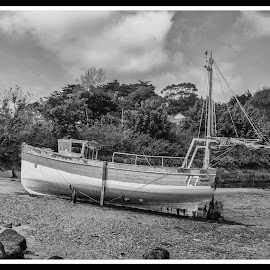 Moored up by Cornish Nige  - Transportation Boats ( b&w, hdr, boats, low tide )