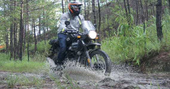 Riding on a muddy road in Vietnam
