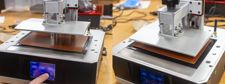 Home your Z and let the resin printer complete the homing process before proceeding further.