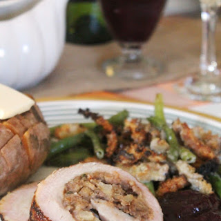 Bacon Wrapped Turkey Breast Stuffed with Pear Hash
