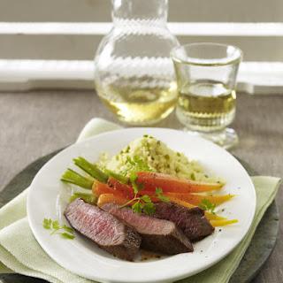 Lamb Tenderloin with Caramelized Carrots & Pistachio Couscous