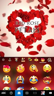 Keyboard - Red Rose Petals New Theme - náhled