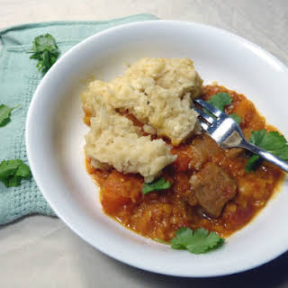 Slow Cooker Lamb and Lentil Curry with Dumplings.
