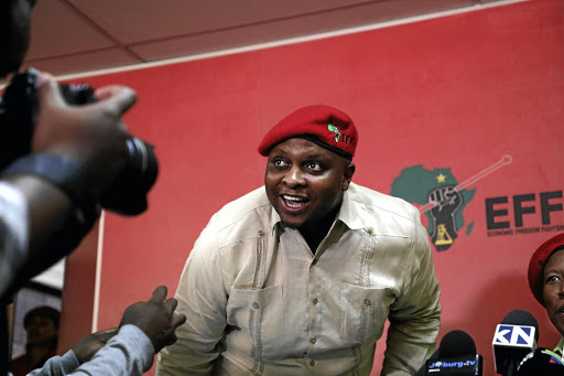 EFF deputy president Floyd Shivambu during a press briefing in Johannesburg on Tuesday over allegations that he and the party benefitted fraudulently from the looting of VBS bank.