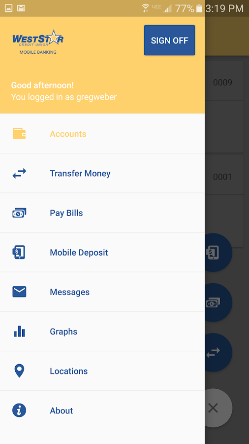 WestStar CU Mobile Banking- screenshot