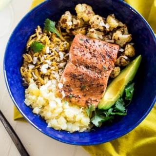 Paleo Caribbean Baked Salmon Plantain Noodle Bowls with Coconut Avocado Sauce.