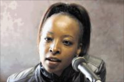 Angela Makholwa, an author of the 30th candle during the podcast interview at the Times offices in Rosebank. PICTURE: SYDNEY SESHIBEDI 22/07/2009