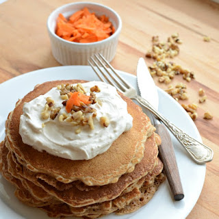 Whole Grain Carrot Cake Pancakes with Maple Cream Cheese Whipped Cream (naturally sweetened too!)