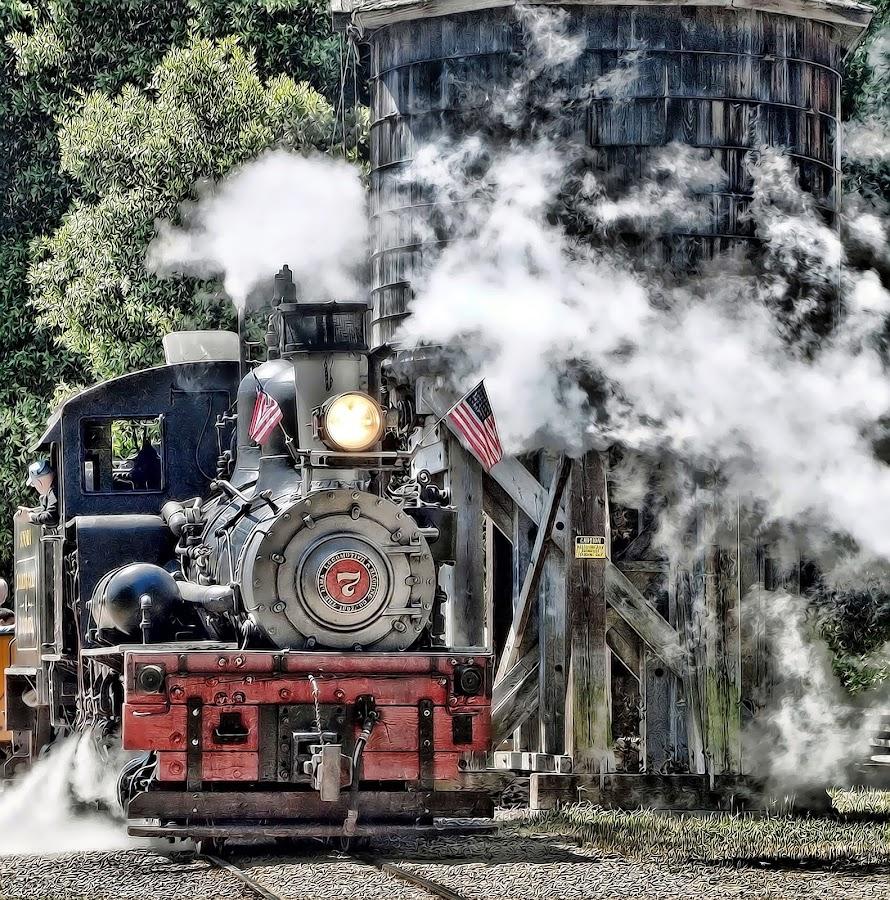 Roaring Camp, Felton CA by Susan Foss - Transportation Trains ( engine, train, roaring camp, steam )