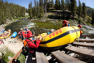 Photo: Rafting the Middle Fork of the Salmon River, ID. Boaters use the slide at Boundary Creek.