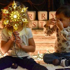 Peekaboo  by Mindi Baum-sherlin - Babies & Children Toddlers ( lights, two, girl, christmas, star, fun, kids, toddler )