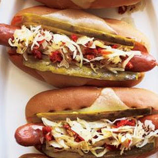 Grilled Reuben Dogs.