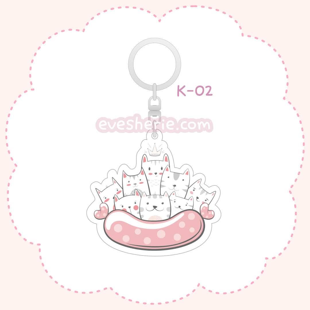พวงกุญแจอะคริลิคน่ารัก ลายลูกแมว สีชมพู
