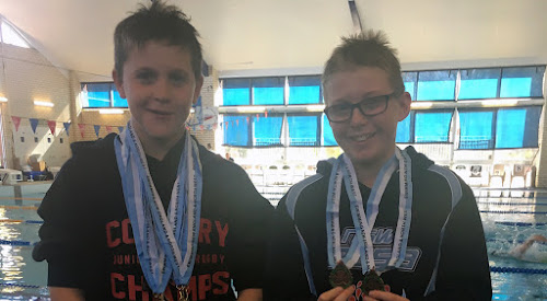 Harrison Bennett and Darcy Gleeson at the recent Swimming New England North West Short Course Area Championship in Armidale.
