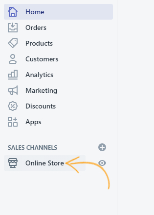 select Online Store' option on the left-hand side menu.