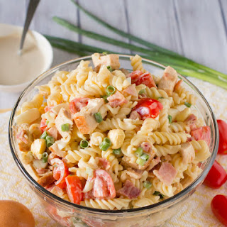 Chicken Caesar Pasta Salad with Bacon and Egg.